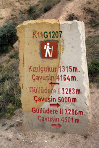 rotes-Tal-wegweiser, Kappadokien, Trolley-Tourist
