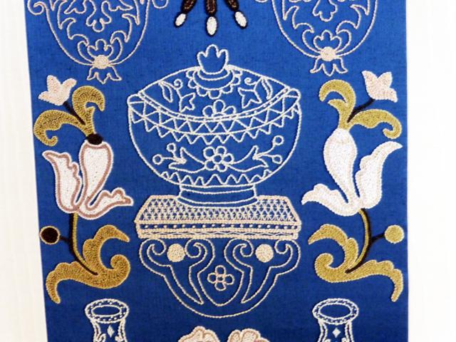 Schloss Mirow - Sticken, Wandbekleidung